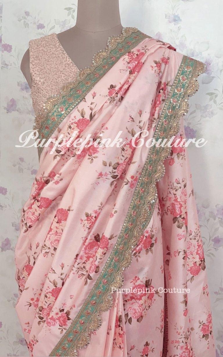 Pink Floral Saree