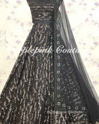 Black Sequins Lehenga Choli
