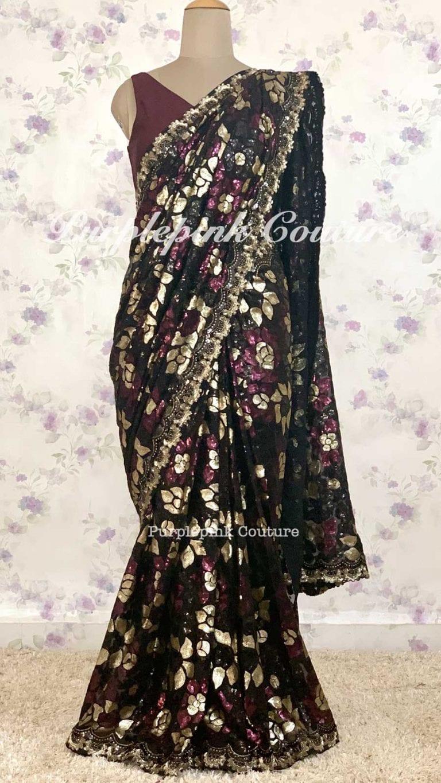 Anara Georgette Heavy Sequins Embroidered Saree Silk Blouse