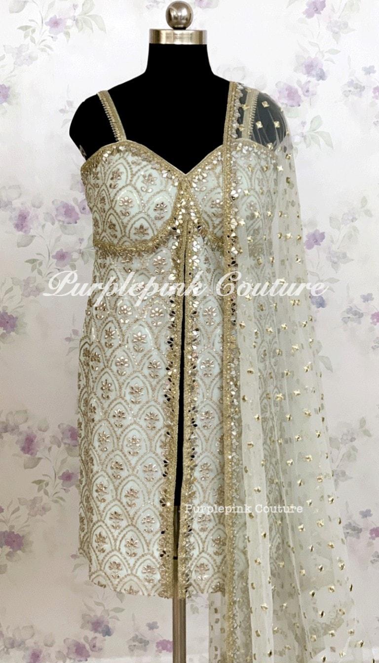Brunneara Georgette Base Suit Foil Mirror Work Net Foil Mirror Work Dupatta