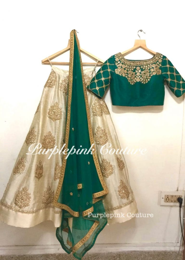 Beige Lehenga Green Raw Silk Choli Golden Sequins Stone Zari Work Soft Net Dupatta