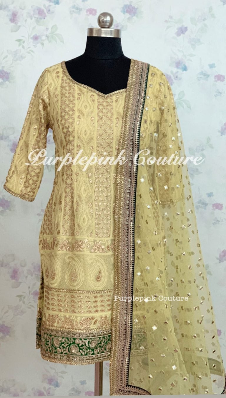 Mia Georgette Lucknowi Thread Work Gota Embellish Suit