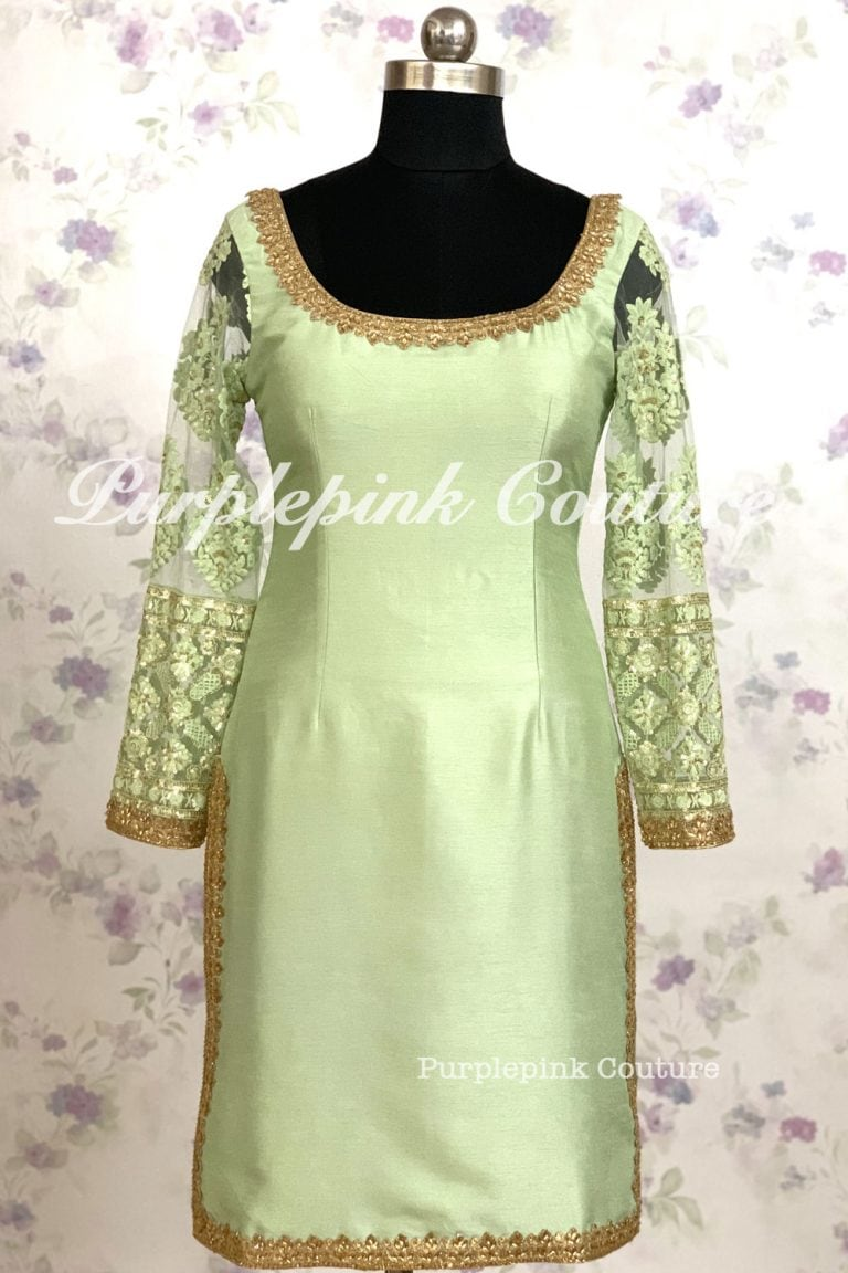 Mint Green Gold Silk Suit Set