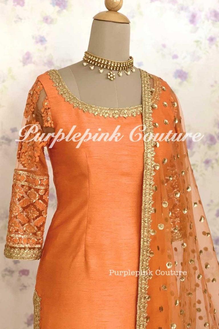 Orange Gold Silk Suit Set
