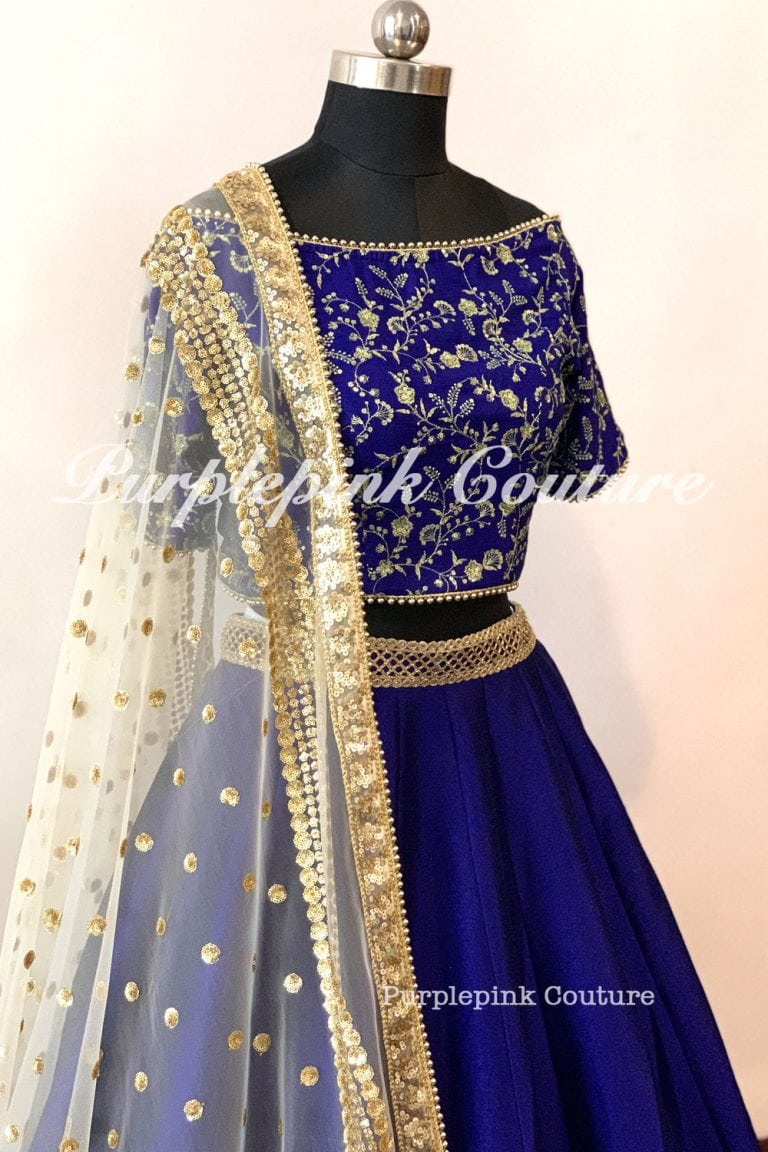 Royal Blue Raw Silk Lehenga Heavy Gold Border Off White Net Dupatta