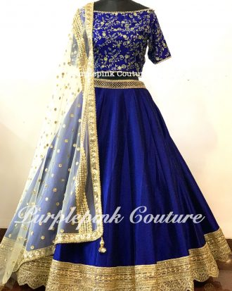 Royal Blue Raw Silk Lehenga Heavy Gold Border Off White Net Dupatta