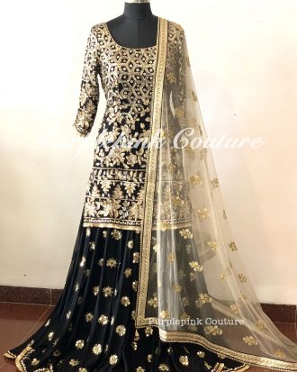 Rafat Black Georgette Heavy Sequin Zari Embroidered Suit Sharara Set