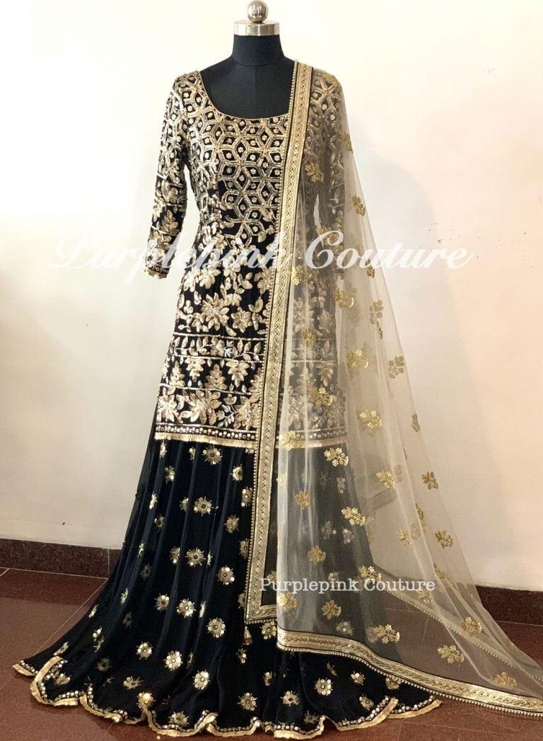 Rafat Black Georgette Heavy Sequin Zari Embroidered Suit Sharara Set