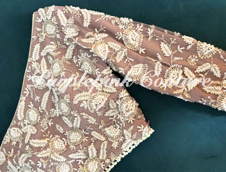 Mauve Net Base Pearl Sequins Hand Embroidered Lehenga Choli Set