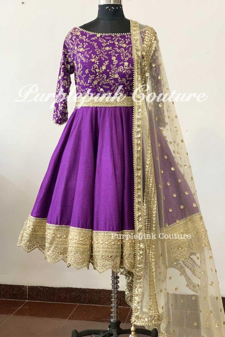 Dark Purple Silk Base Gold Embroidered Short Anarkali Beige Dupatta