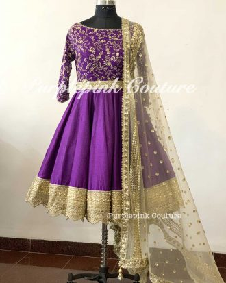 Dark Purple Silk Base Gold Embroidered Short Anarkali Beige Dupatta