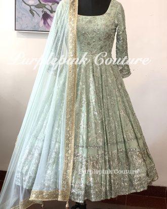 Frosted Ankle Length Anarkali Sage Blue Colour Soft Net Dupatta Pajami
