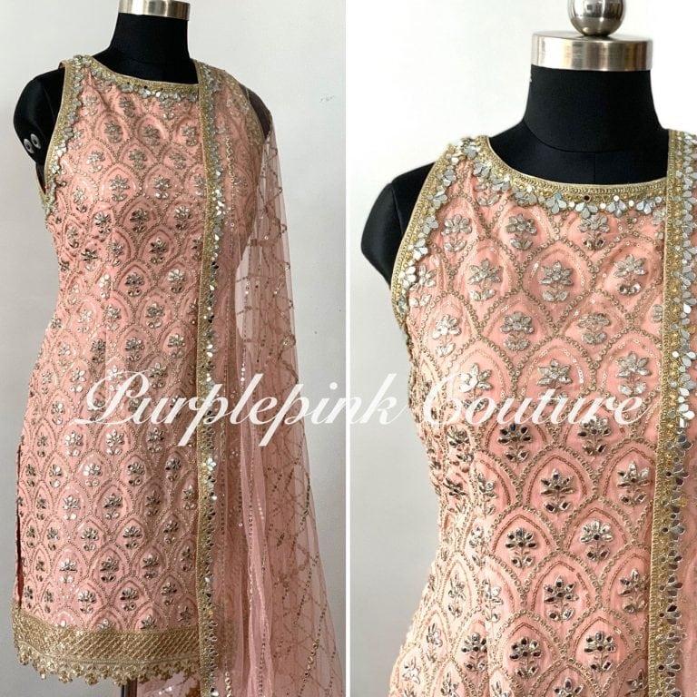 Soft Pink Brunneara Georgette Base Suit Foil Mirror Work Net Foil Mirror Work Dupatta