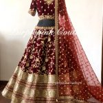 Maroon Bridal Hand Embroidered Lehenga Choli Net Dupatta