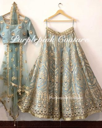 Mehreen Organza Base Blueish Grey Lehenga Choli Set