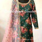 Green Floral Print Silk Base Suit Coral Dupatta Lycra Pajami