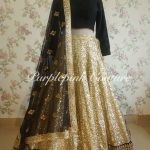 Gold Black Heavy Sequins Lehenga Net Bouquet Dupatta
