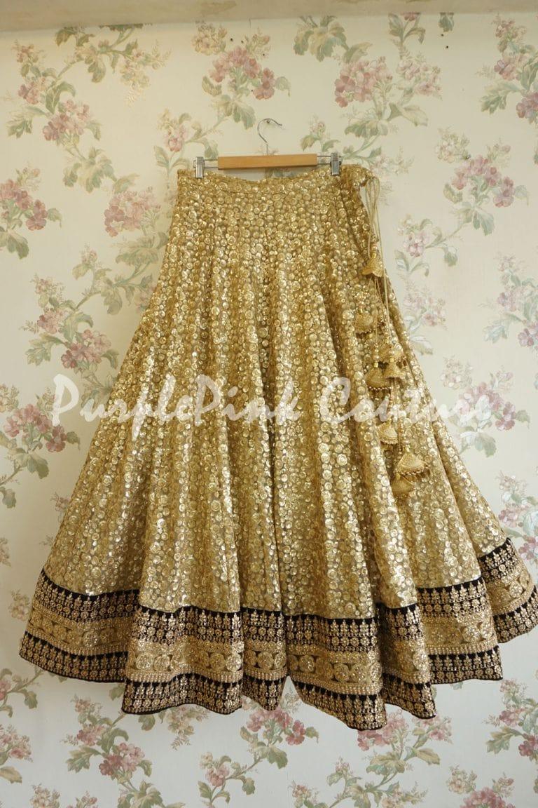 Gold Black Heavy Sequins Lehenga Net Bouquet Dupatta