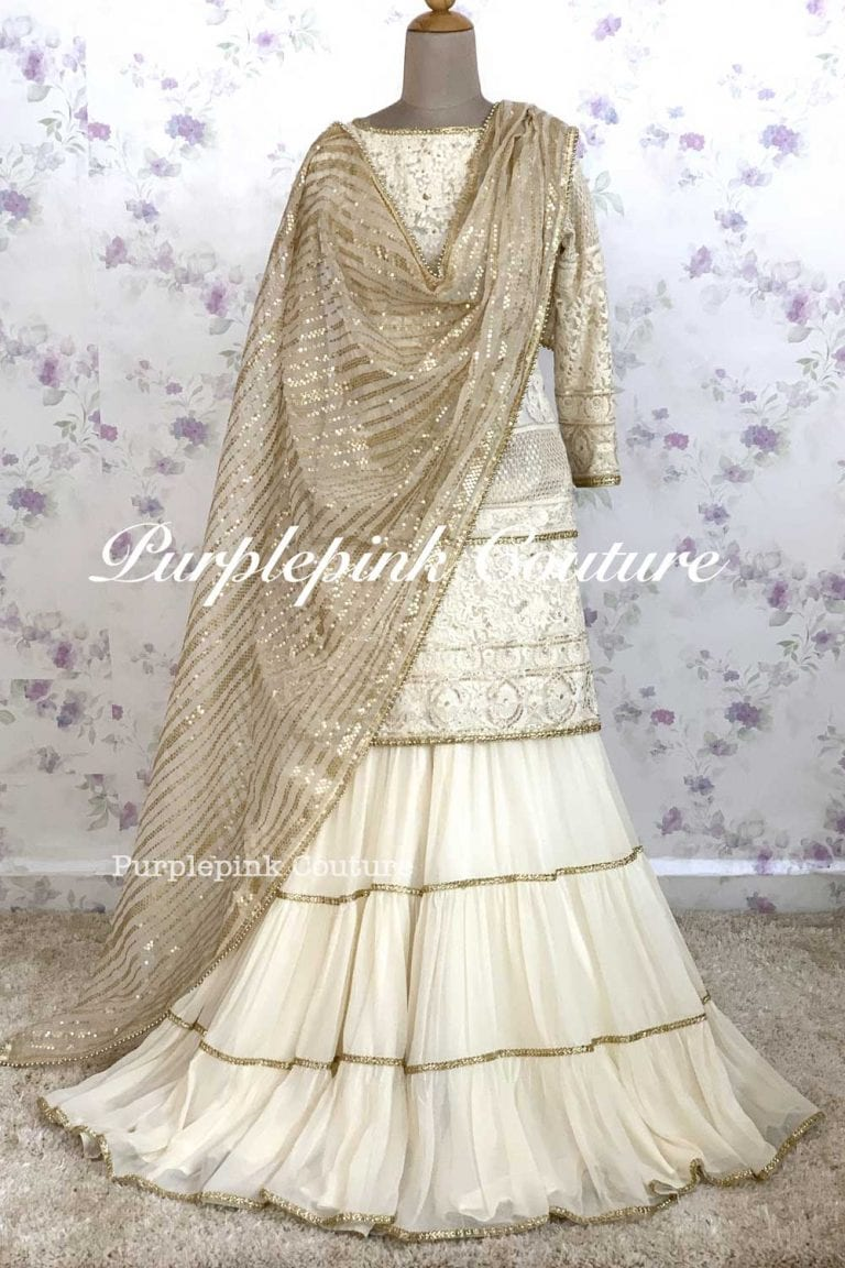 Off White Nikhat Sharara Set Sequins Organza Dupatta