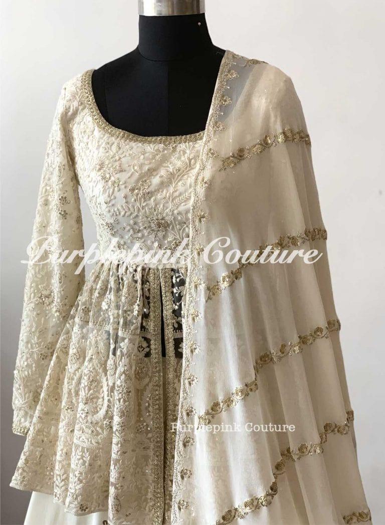Kia Off White Gharara Peplum Top Georgette Embroidered Dupatta
