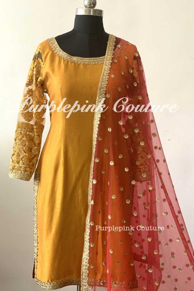 Mustard Gold Silk Suit Set Red Dupatta