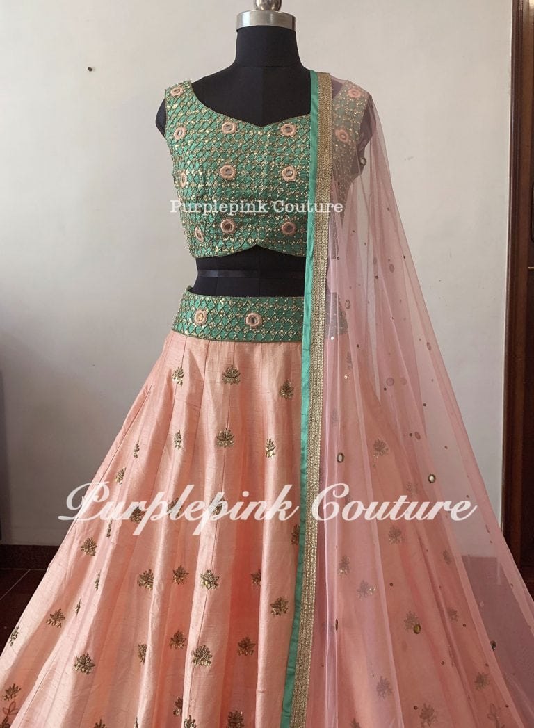 Peachish Pink Sea Green Silk Base Hand Embroidered Lehenga Choli Set
