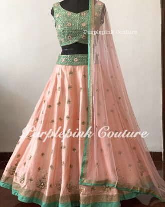 Peachish Pink Sea Green Silk Base Hand Embroidered Lehenga Choli Set