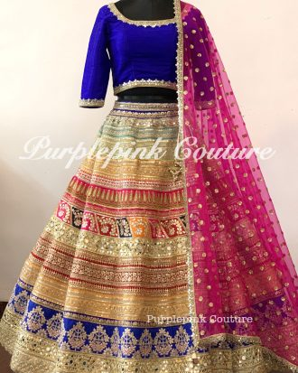Rangeela Raw Silk Heavy Multi Coloured Lehenga Royal Blue Raw Silk Choli Net Booti Dupatta