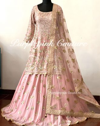 Blush Pink Rafat Lehenga Long Top