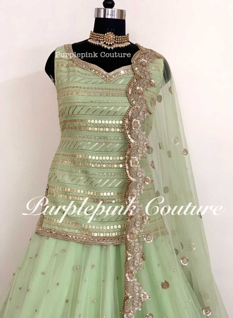 Mint Green Georgette Base Long Top Net Base Heavy Lehenga Sequins Scallop Dupatta