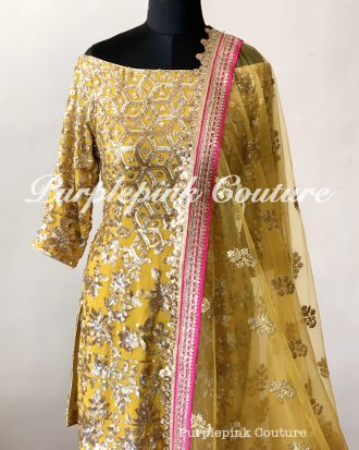 Rafat Yellow Pink Georgette Heavy Embroidered Suit Set