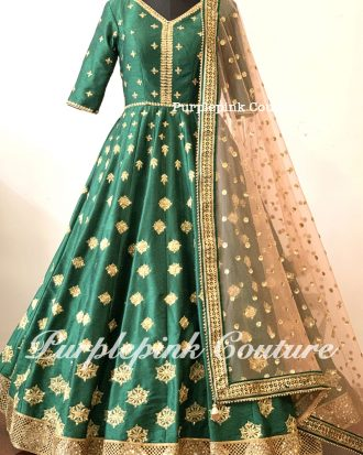 Rida Forest Green Raw Silk Hand Embroidered Floor Length Anarkali Peach Net Dupatta