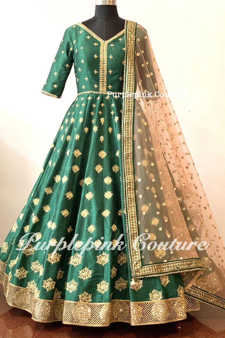 Rida Forest Green Raw Silk Hand Embroidered Floor Length Anarkali Peach Net Dupatta
