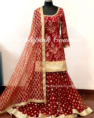 Laila Burgundy Heavy Sharara Set