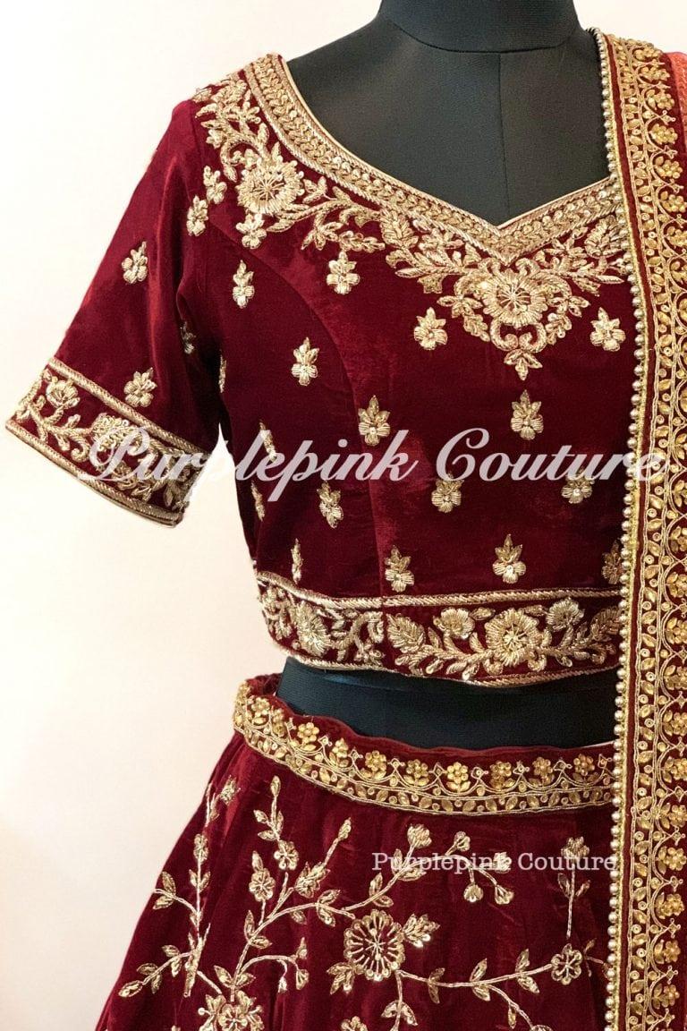 Maroon Bridal Hand Embroidered Lehenga Choli Net Dupatta