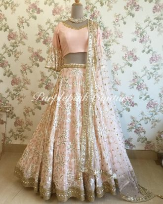 Pale Peach Georgette Base Heavy Embroidered Lehenga Choli