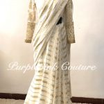 Off White Gold Georgette Heavy Sequins Embroidered Saree Silk Blouse