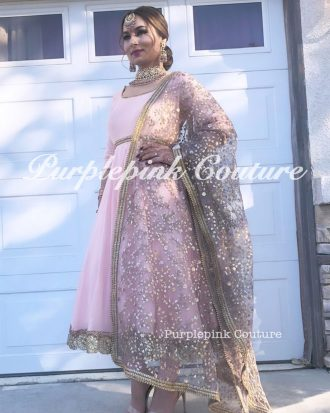 Peach Georgette Mid Length Anarkali Net Grey Sequins Embroidered Dupatta