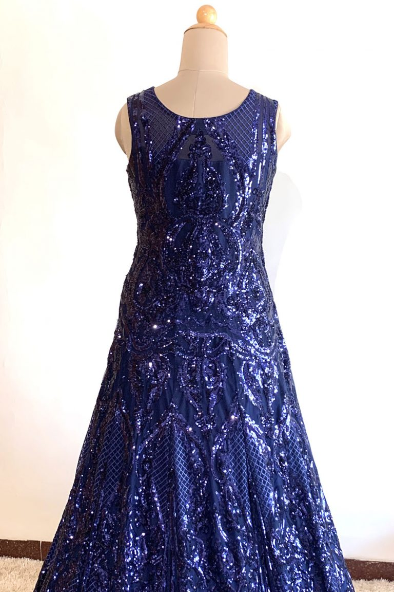 Navy Blue Heavy Embroidered Gown