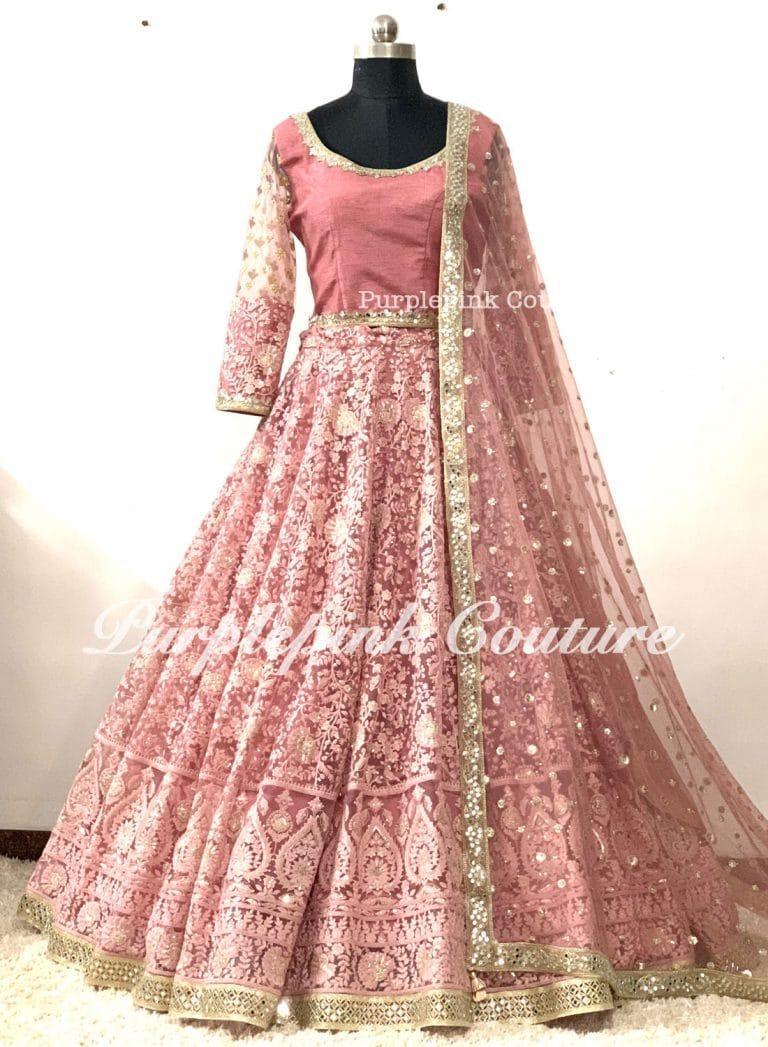 Kia Mauve Pink Net Heavy Thread Sequins Embroidered Lehenga Choli Dupatta