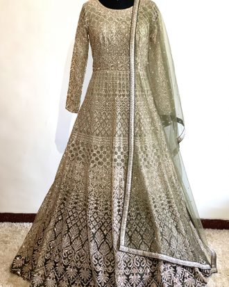 Mehandi Green Ombré Floor Length Heavy Embroidered Anarkali