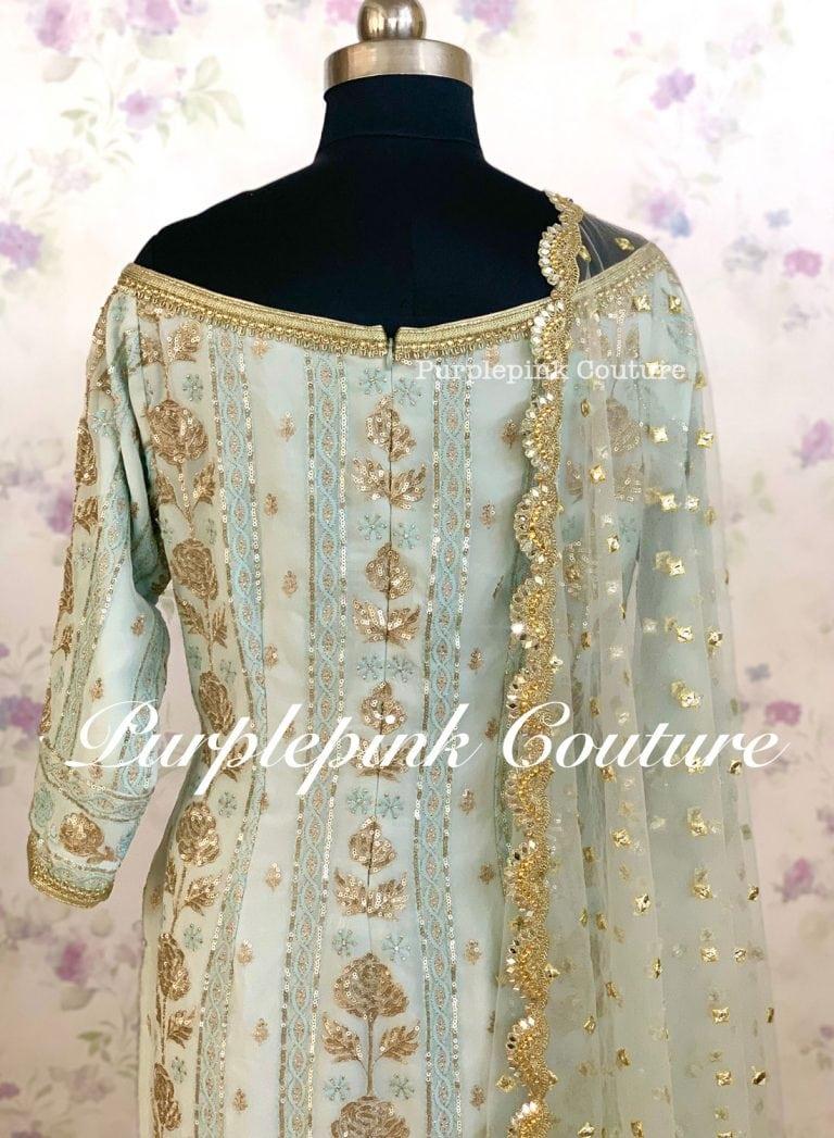 Blue Rose Georgette Base Sequins Embroidered Sharara Set