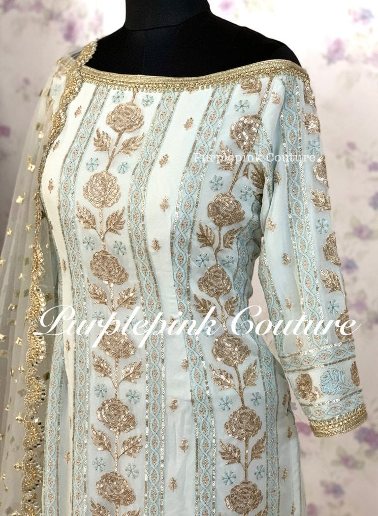 Blue Rose Georgette Base Sequins Embroidered Suit Pajami