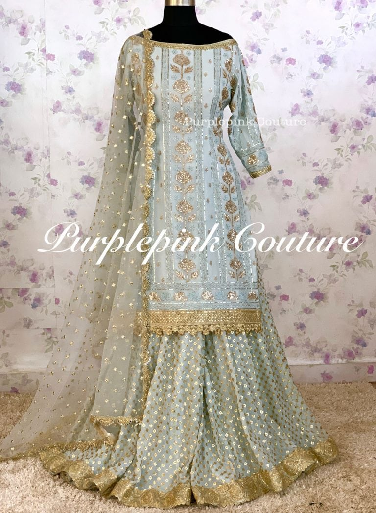 Blue Rose Georgette Base Sequins Embroidered Sharara Set