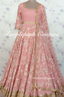 Pink Georgette Base Heavy Embroidered Anarkali
