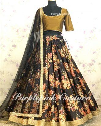 Silk Base Floral Print Sequins Work Black Lehenga Golden Choli