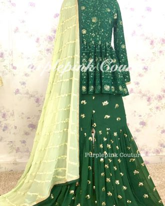 Kia Teal Green Gharara Peplum Top Georgette Embroidered Dupatta