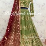 Heena Mehandi Green Net Base Thread Sequins Lehenga Choli