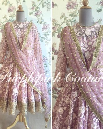 Knee Length Anarkali Pink Thread Sequins Work