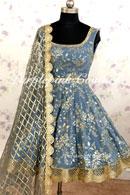 Laila Greyish Blue Georgette Heavy Embroidered Short Anarkali